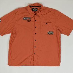 Harley Davidson Big & Tall XXL Orange   Button Dow